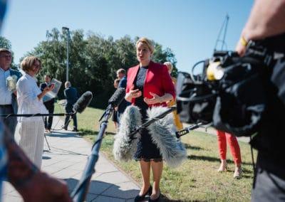 Bundesministerin für Familie, Senioren, Frauen und Jugend, Dr. Franziska Giffey stellt sich den Journalisten